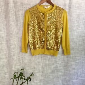 L'wren Scott Sequin Classic Cardigan Yellow Gold